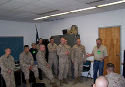 Carl Weil, WMO's Director, doing Heavy Trauma Training for Marines on their way to Iraq