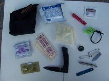 WMO Belt pouch Survival Kit w/ spyder co lock blade knife